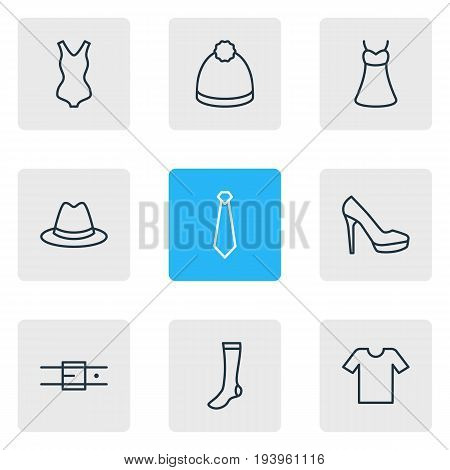Vector Illustration Of 9 Clothes Icons. Editable Pack Of Sandal, Pompom, Swimwear Elements.