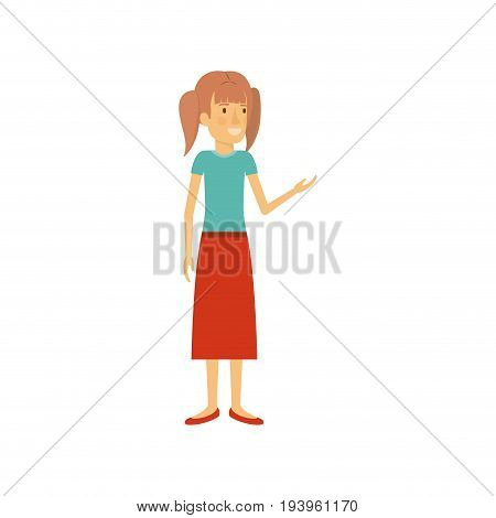 colorful silhouette of woman in dress standing with pigtails hairstyle vector illustration