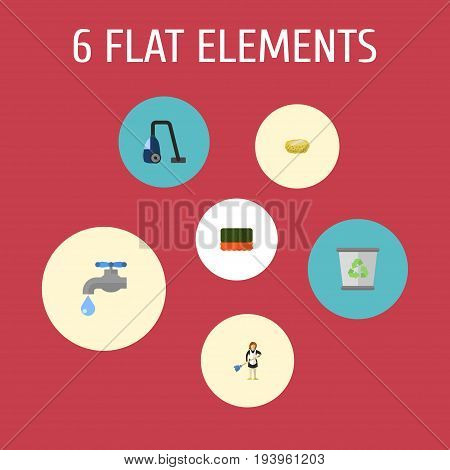 Flat Icons Wisp, Housewife, Garbage Container And Other Vector Elements. Set Of Cleaning Flat Icons Symbols Also Includes Wisp, Bin, Housemaid Objects.