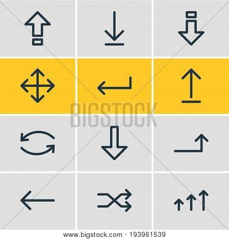 Vector Illustration Of 12 Sign Icons. Editable Pack Of Turn, Raise, Update And Other Elements.