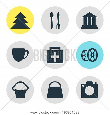 Vector Illustration Of 9 Check-In Icons. Editable Pack Of Cake, Drugstore, University And Other Elements.