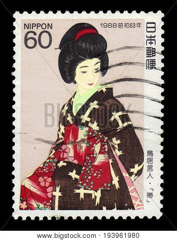 JAPAN - CIRCA 1988: A stamp printed in Japan shows japanese traditional dress Kimono Sash for women, series