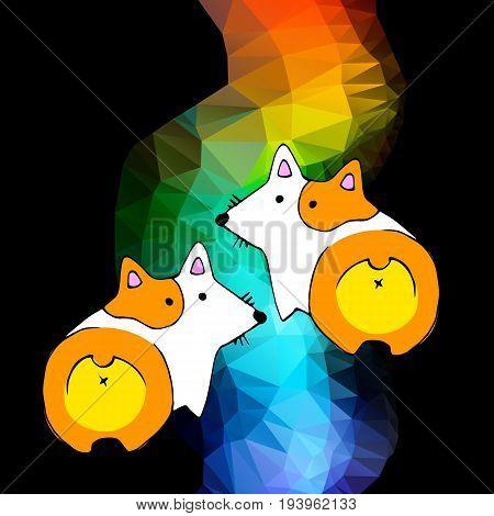 vector welsh dog corgi animal illustration pet white ears