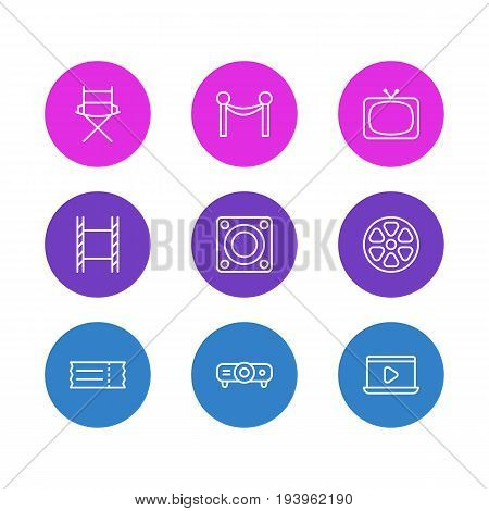 Vector Illustration Of 9 Cinema Icons. Editable Pack Of Movie Reel, Cinema Fence, Tv And Other Elements.