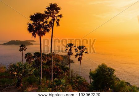 Phromthep cape viewpoint at sunset sky in Phuket Thailand