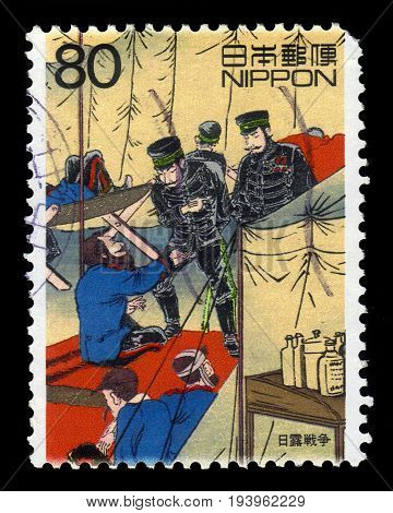 JAPAN - CIRCA 1999: A stamp printed in Japan shows episode in the Russian Japanese War (1904-1905), 20th Century 1st issue, circa 1999