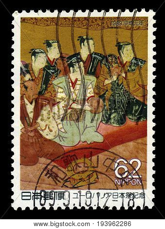 JAPAN - CIRCA 1989: A stamp printed in Japan shows actors of the Kabuki theatre, series european culture festival
