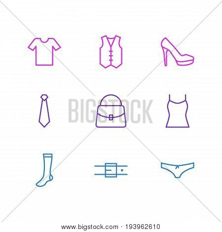 Vector Illustration Of 9 Clothes Icons. Editable Pack Of Waistcoat, Hosiery, Casual And Other Elements.