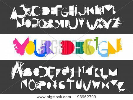 Vector alphabet set of capital white letters and its counter forms with smears of semi-dry brush on black background. For logo design typefaces compositions and lettering.