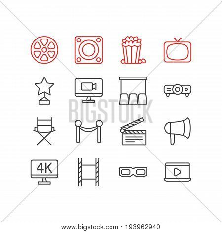 Vector Illustration Of 16 Cinema Icons. Editable Pack Of Loudspeaker, Slideshow, Resolution And Other Elements.