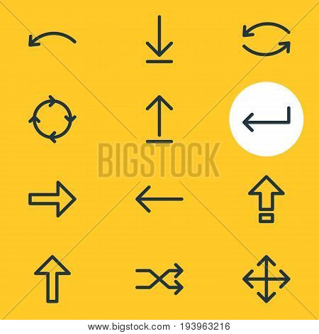 Vector Illustration Of 12 Arrows Icons. Editable Pack Of Widen, Shrift, Loading And Other Elements.