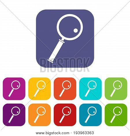 Loupe icons set vector illustration in flat style In colors red, blue, green and other