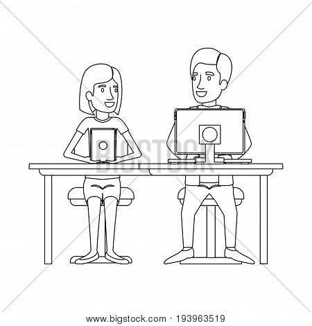 monochrome silhouette of teamwork of woman and man sitting in desk with tech devices and her with short hair and him in formal suit with necktie vector illustration