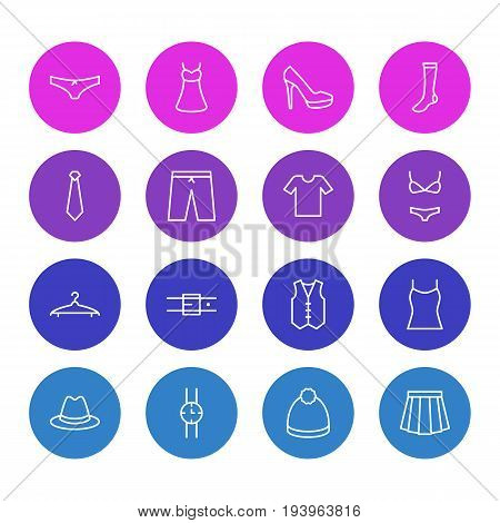 Vector Illustration Of 16 Garment Icons. Editable Pack Of Fedora, Apparel, Evening Dress And Other Elements.
