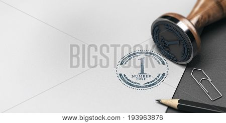 3D illustration of an office table with paper sheet and rubber stamp with the text number one. Advertising and Communication concept.