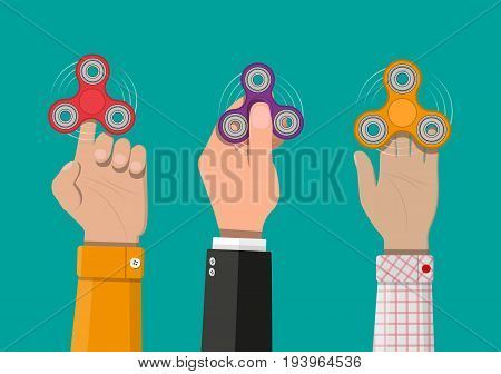 Hand spinner. Antistress toy, fidget spinner. Vector illustration in flat style