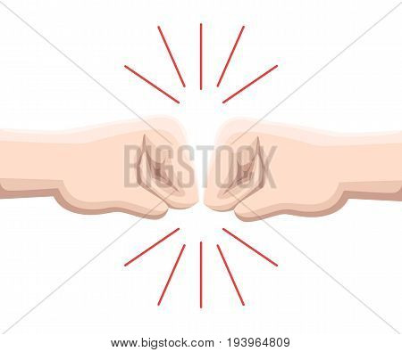 Two Fists Are Against Each Other In Readiness To Hit. Web Site Page And Mobile App Design Vector Ele