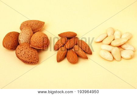 almonds with shell, shelled almonds and blanched almonds