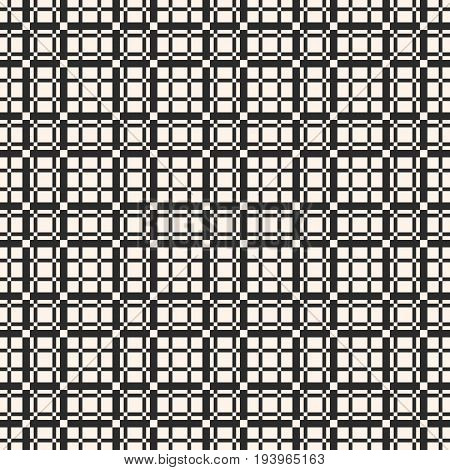 Seamless pattern. Vector lattice background. Abstract geometric texture with vertical and horizontal interlacing thin lines. Square grid, repeat tiles. Pixel art checkered background. Design pattern, textile pattern, covers pattern, fabric pattern.