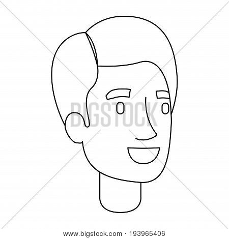 monochrome silhouette of man face with short hair and fringe to right side vector illustration