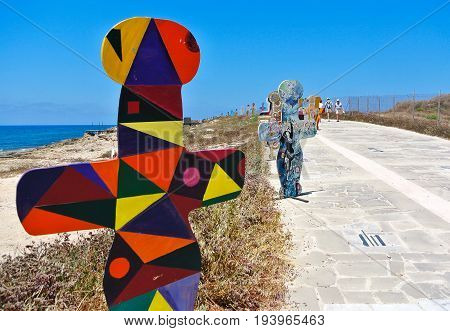PAPHOS - JUNE 28, 2017: Waterside Artwork in Paphos made by students from high schools across the island.