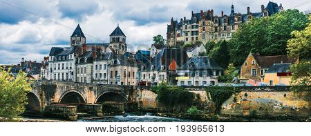 Travel in France- pictorial medieval town Saint-Aignan, in Loire valley region