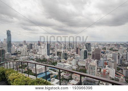 Bangkok, Thailand - 8 June 2017 : bangkok city view with rainy clound.