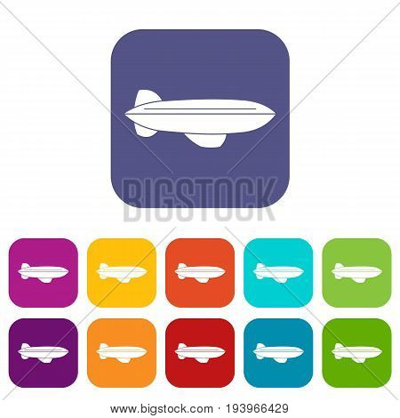 Blimp aircraft flying icons set vector illustration in flat style In colors red, blue, green and other