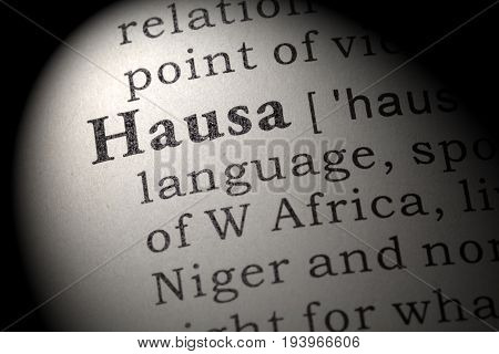 Fake Dictionary Dictionary definition of the word Hausa. including key descriptive words.