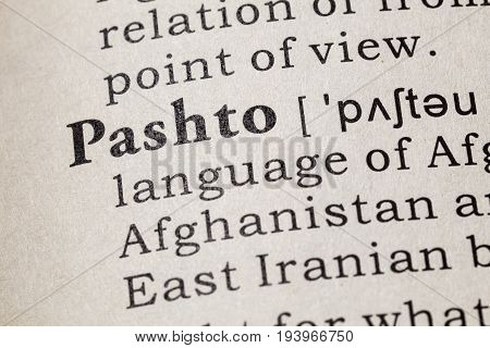 Fake Dictionary Dictionary definition of the word Pashto. including key descriptive words.