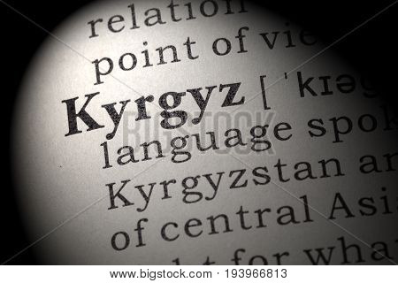 Fake Dictionary Dictionary definition of the word Kyrgyz. including key descriptive words.