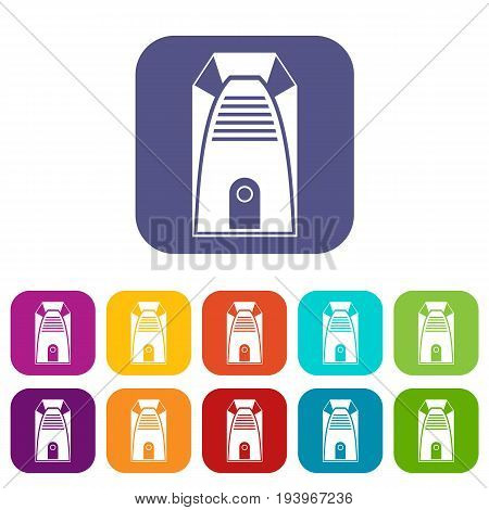 Modern electric home heater icons set vector illustration in flat style In colors red, blue, green and other