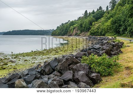 A view of the Puget Sound on a wet day. Photo taken at Saltwater State Park.