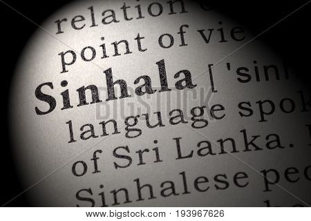 Fake Dictionary Dictionary definition of the word Sinhala. including key descriptive words.