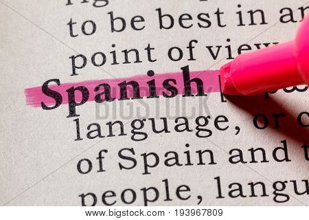 Fake Dictionary Dictionary definition of the word Spanish. including key descriptive words.