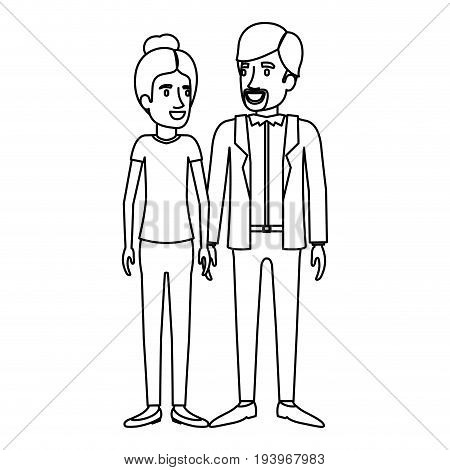monochrome silhouette of man and woman standing and her with collected hair and him in casual clothes and beard van dyke vector illustration