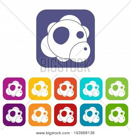 Atom icons set vector illustration in flat style In colors red, blue, green and other