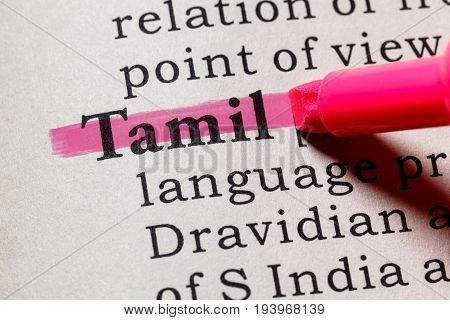 Fake Dictionary Dictionary definition of the word Tamil. including key descriptive words.