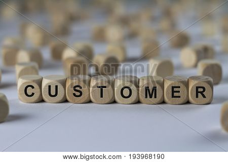 Customer - Cube With Letters, Sign With Wooden Cubes