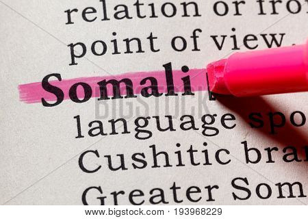 Fake Dictionary Dictionary definition of the word Somali. including key descriptive words.
