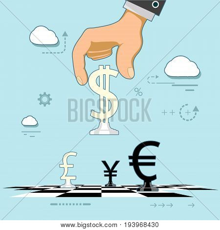 Man plays chess in the form of world currencies. Stock exchange and making money. Strategy and development of broker business. Vector illustration.