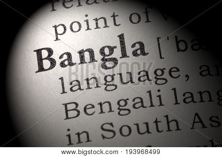 Fake Dictionary Dictionary definition of the word Bangla. including key descriptive words.