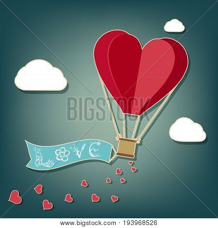 Hot air balloon in a heart shape. Banner with the word love. Valentine day concept. Stock vector illustration.