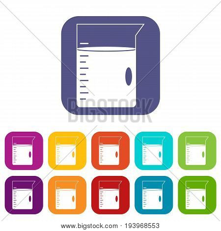 Measuring cup icons set vector illustration in flat style In colors red, blue, green and other