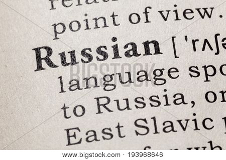 Fake Dictionary Dictionary definition of the word Russian. including key descriptive words.