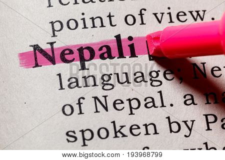 Fake Dictionary Dictionary definition of the word Nepali. including key descriptive words.