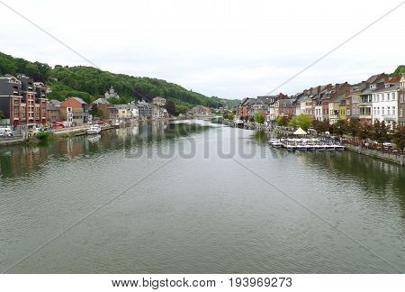 Meuse river at the impressive town of Dinant, Wallonia region, Belgium