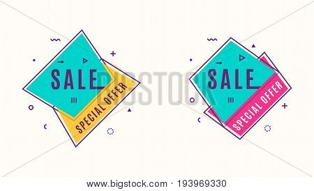 Vector illustration of trendy flat style geometric banners. Vivid color box in retro vintage poster design. Dynamic shapes, motion line and geometrical symbol in pink, yellow, purple and blue colors