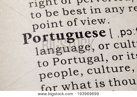 Fake Dictionary Dictionary definition of the word Portuguese. including key descriptive words.
