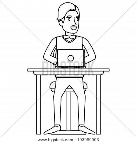 monochrome silhouette of man in formal clothes and hair side fringe and sitting in chair in desk with laptop computer vector illustration